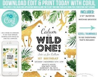 ebf2edfde4885 Wild One Birthday Invitation Safari Animals Invitation Boy Jungle Safari  Animal Party Gold Wild One Party Instant Download Editable File F1