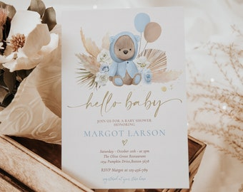Editable Boho Teddy Bear Baby Shower Invitation Bohemian Pampas Baby Blue Teddy Bear Baby Shower Couples Co-Ed Shower Instant Download KP