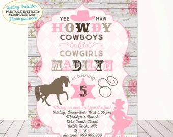 Cowgirl invitation etsy cowgirl invitation cowgirl birthday invitation shabby chic floral cowgirl invitation cowgirl birthday party shabby chic rustic cowgirl party filmwisefo