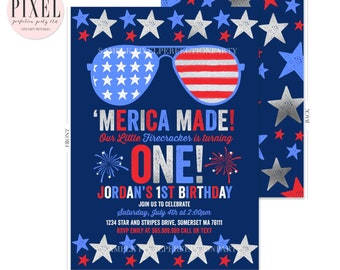 July 4th Birthday Invitation Fourth Of 1st Patriotic Independence Day Red White Blue Party 7k