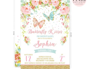 Butterfly Birthday Invitation Whimsical Floral Garden Party