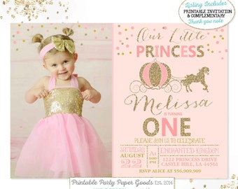 Carriage invitations etsy princess invitation princess carriage invitation our little princess invitation pink gold birthday invitation pink gold 1st birthday party filmwisefo
