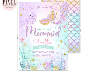Mermaid Invitation Birthday Under The Sea Invite Party Whimsical 5R