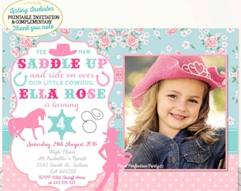 Cowgirl invitation etsy cowgirl invitation cowgirl birthday invitation rose cottage floral pink teal cowgirl invitation cowgirl party shabby chic cowgirl party filmwisefo