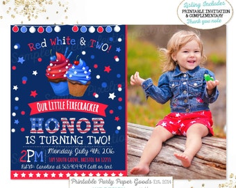 July 4th Birthday Invitation Patriotic Independence Day Red White Blue Party