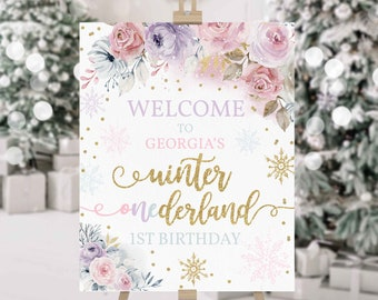 Editable WINTER ONEderland Welcome Sign Gold & Pink Floral Snowflake Winter Onederland 1st Birthday Watercolor Tree Instant Download KA