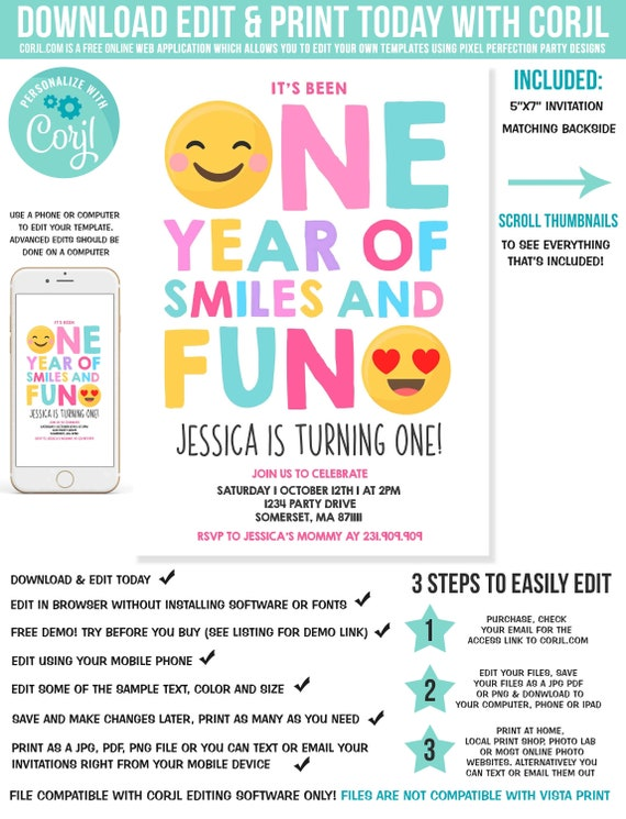 Emoji Birthday Invitation Emoji Smiley Face Birthday Invitation Girl First Birthday Girl 1st Birthday Instant Download Editable Pdf Corjl V6