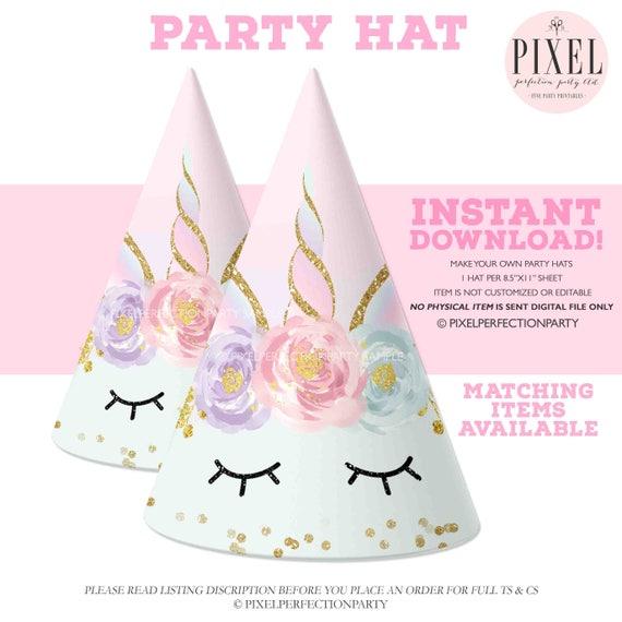 Unicorn Party Hat Printable Unicorn Party Hat Magical Unicorn Etsy