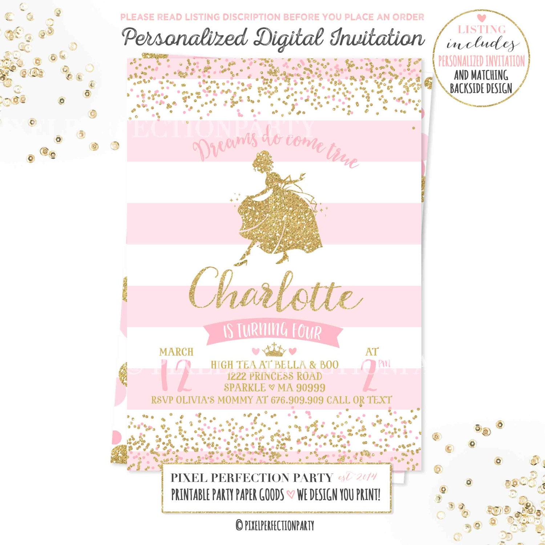 Princess Invitation Princess Birthday Invitation Cinderella | Etsy