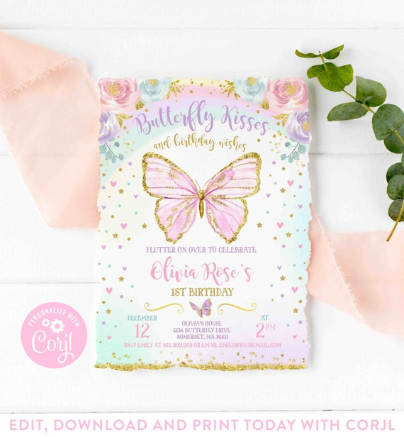 Personalised Floral Butterfly Pretty Flower Birthday Party Invites x12 H0130