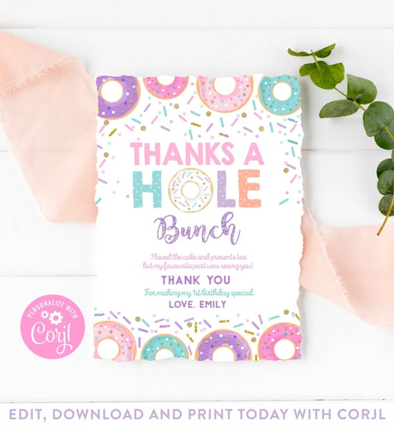 Printable PRINTABLE Donuts and Pajamas Party Thank You Sleepover Donuts Thank You Card Pajama Party Donuts Birthday Thanks