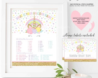 What Is Your Unicorn Name Game Unicorn Party Game Unicorn Party Magical Unicorn Birthday Unicorn Party Game Instant Download Unicorn Game 2T