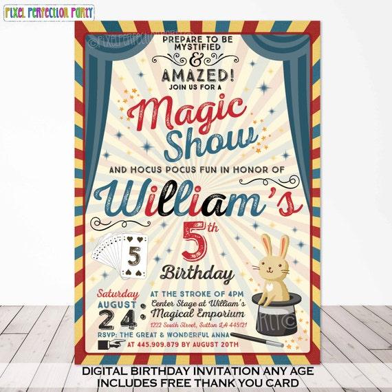 magic party invitation magic birthday invitation magician etsy