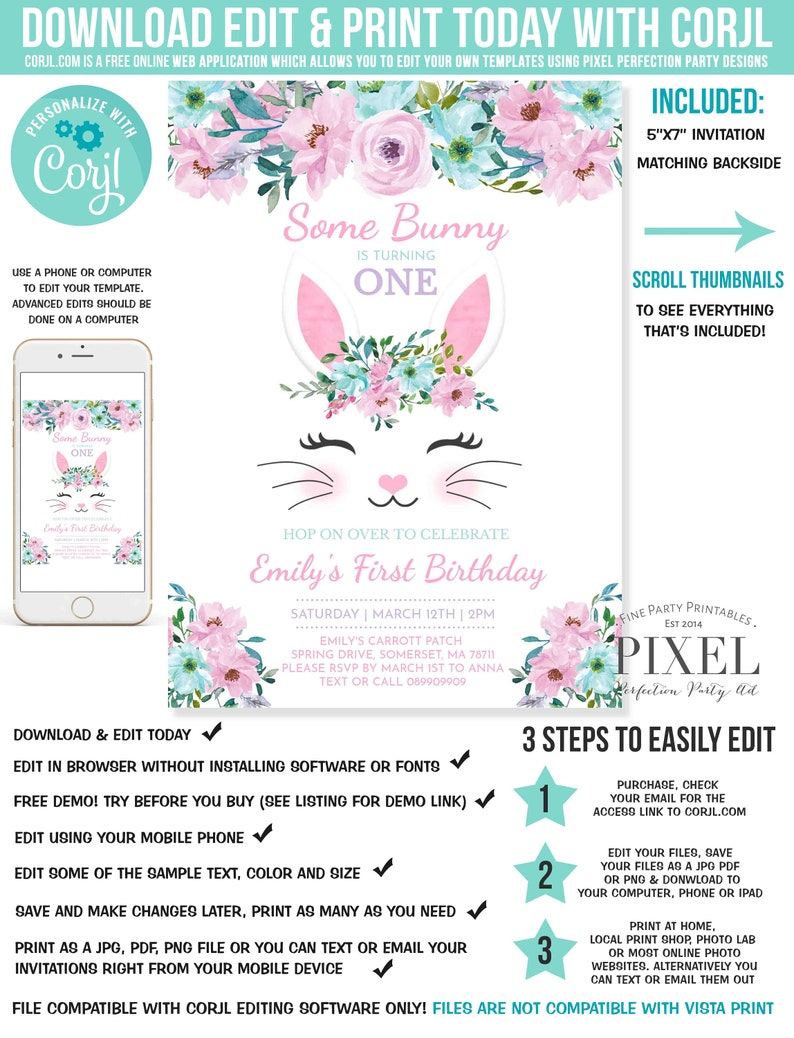 Some Bunny Is Turning One Birthday Invitation 1st