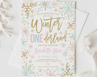 Editable WINTER ONEderland Invitation Pink And Mint And Gold Snowflakes Winter ONEderland Invitation Winter Party Instant Download DE