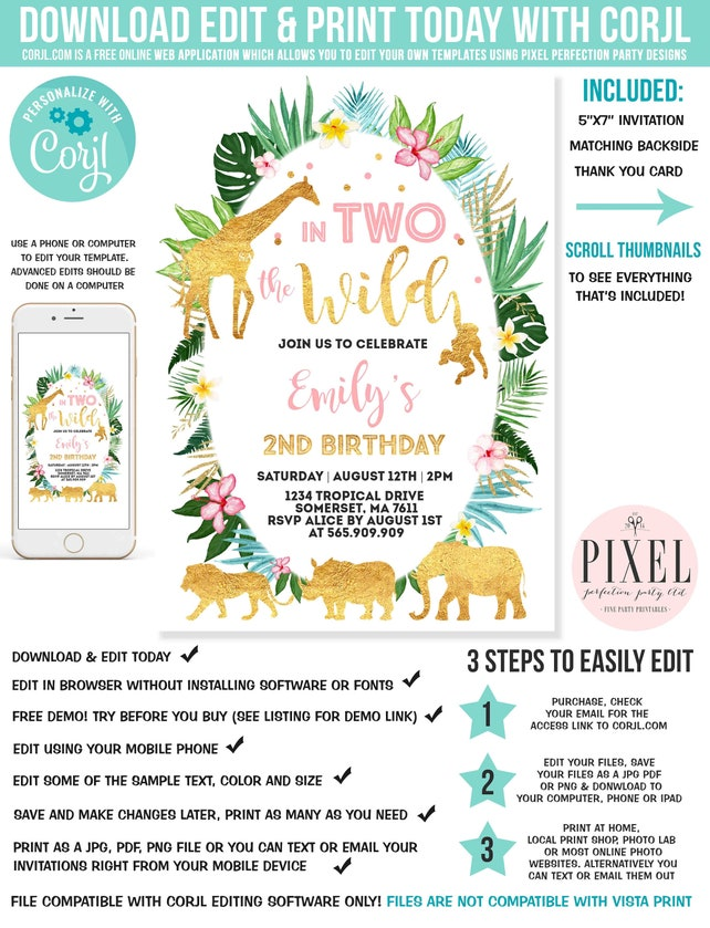In Two The Wild Birthday Invitation Pink Gold Jungle Animals 2nd