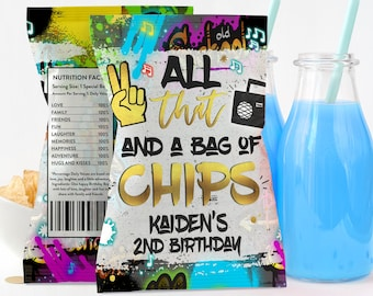 Editable Hip Hop 90s Birthday Chip Bag Wrapper Two Legit To Quit Chip Bag Wrapper All That And A Bag Of Chips Favor Instant Download TL