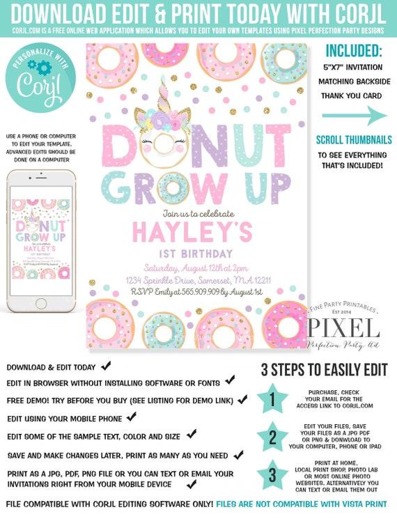Donut Grow Up Birthday Invitation Unicorn