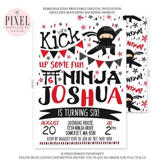 Ninja Invitation Birthday Karate