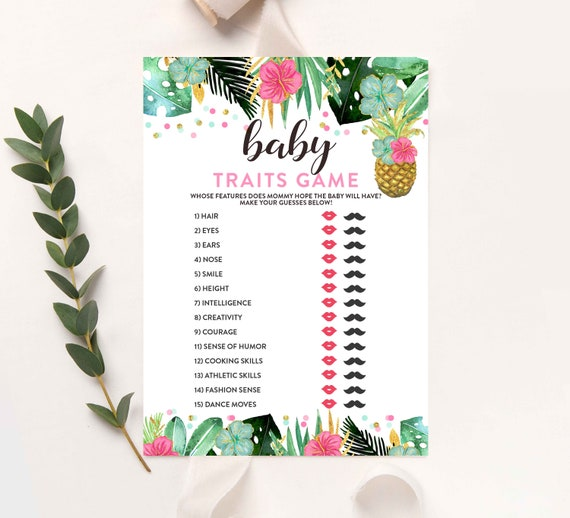 Baby Traits Game Tropical Baby Traits Game Guess The Features Baby Shower Game Tropical Baby Shower Party Games Instant Download 30