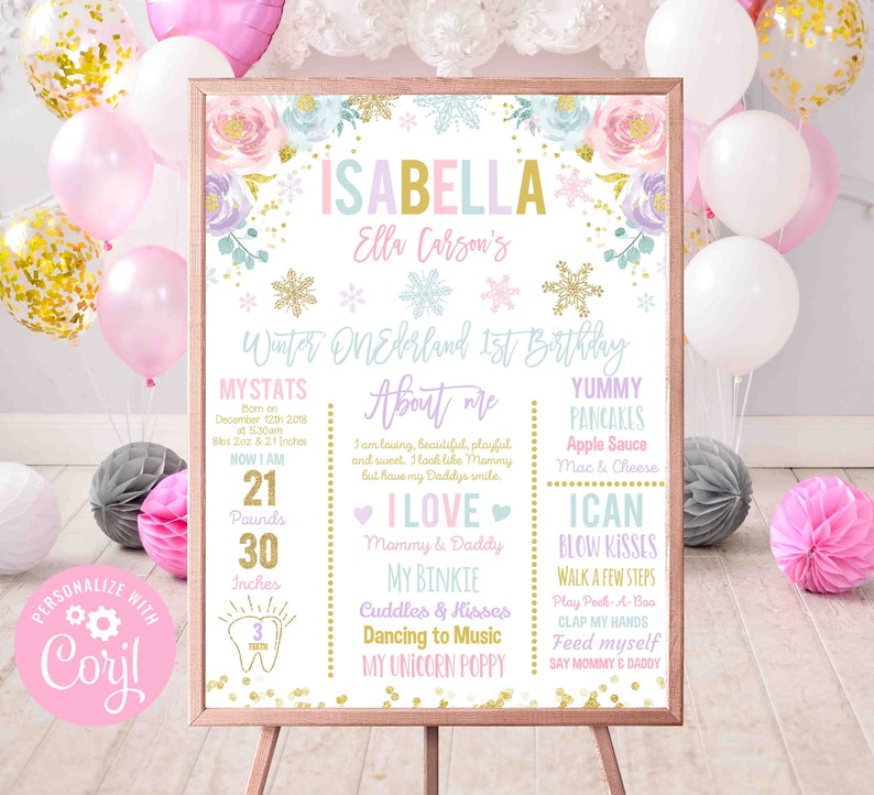Winter ONEderland Birthday Poster Pink And Gold Winter ONEderland 1st Birthday Milestone Poster Instant Download Editable File Corjl 1K