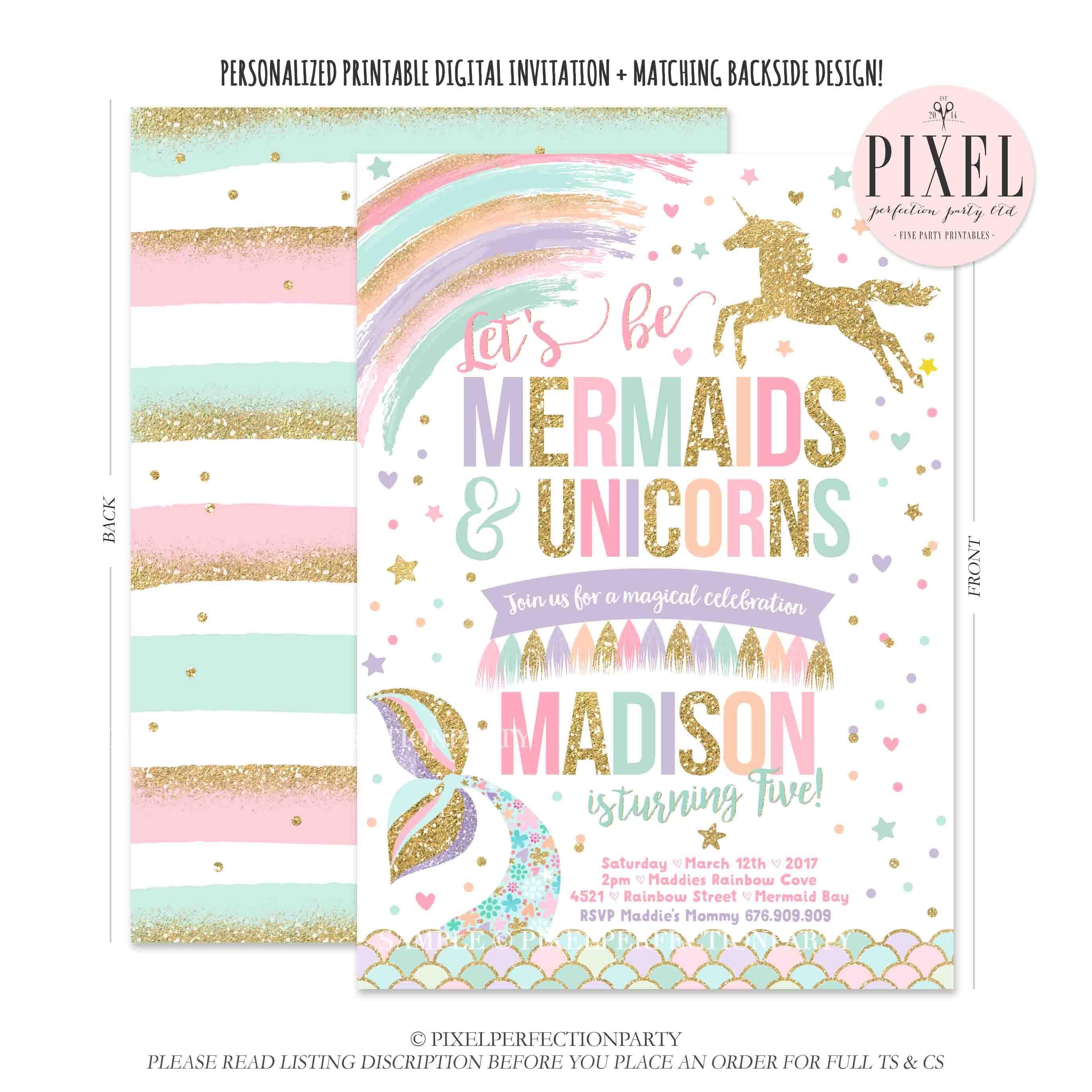 Mermaid And Unicorn Birthday Invitation Magical Unicorn and | Etsy