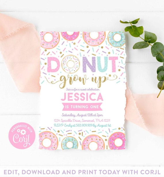 Physical Print or Digital Download Donut Themed Birthday Party Invitation