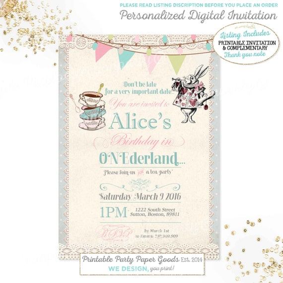 Alice in wonderland 1st birthday invitation alice in etsy image 0 filmwisefo