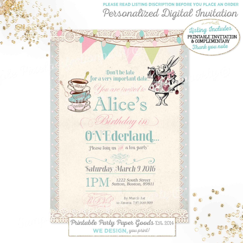 Alice in Wonderland 1st Birthday Invitation Alice In | Etsy