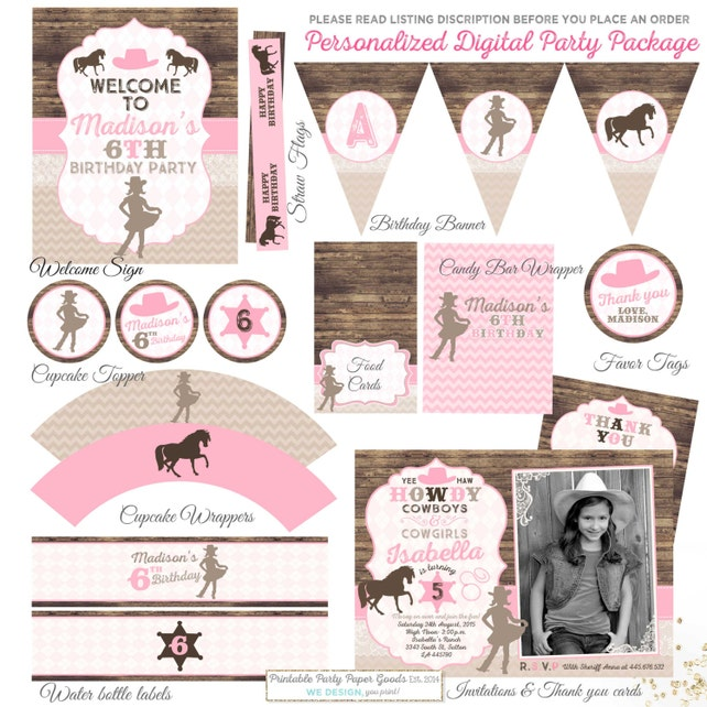 Cowgirl Birthday Invitation Matching Party Package Vintage Invite Decorations