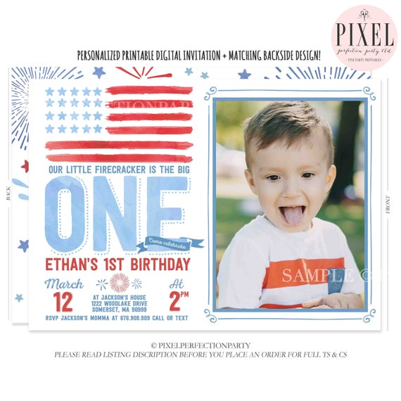 July 4th Birthday Invitation 1st