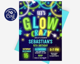 Glow Birthday Invitation Glow Invitation Neon Glow Invitation Neon Glow Party Glow In The Dark Birthday Party Instant Download Editable NG