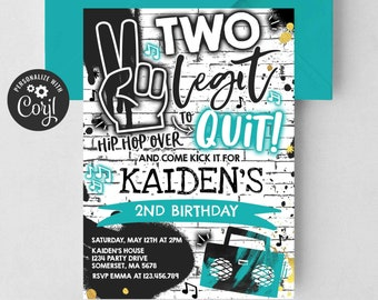 Editable Two Legit To Quit Birthday Party Invitation Two Legit To Quit 2nd Birthday Party Boy Hip Hop 2nd Birthday Party Instant Download TL