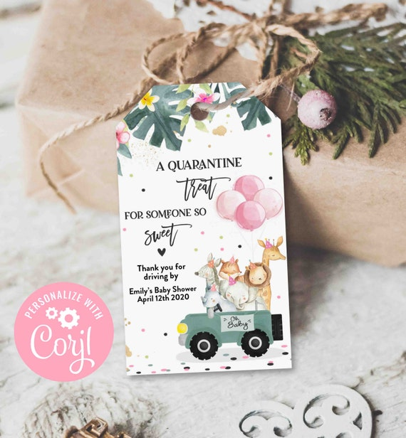 Drive Through Baby Shower Favor Tag for Girls