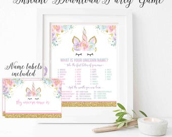 What Is Your Unicorn Name Game Unicorn Party Game Unicorn Party Magical Unicorn Birthday Unicorn Party Game Instant File Unicorn Game MU1
