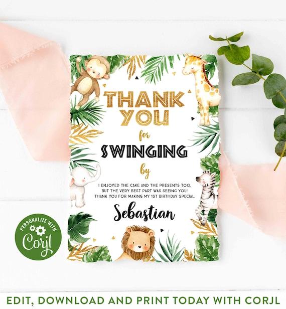 Elephant Templett Safari Thank You Card INSTANT DOWNLOAD Birthday Thank You DIY Printable Decorations 4x6 Editable Thanks Card