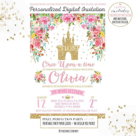 Princess Birthday Invitation Pink Gold Castle