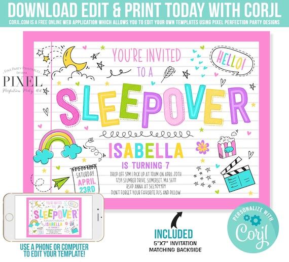Sleepover Invitation Slumber Party Birthday Pajama Instant Editable File Corjl N7