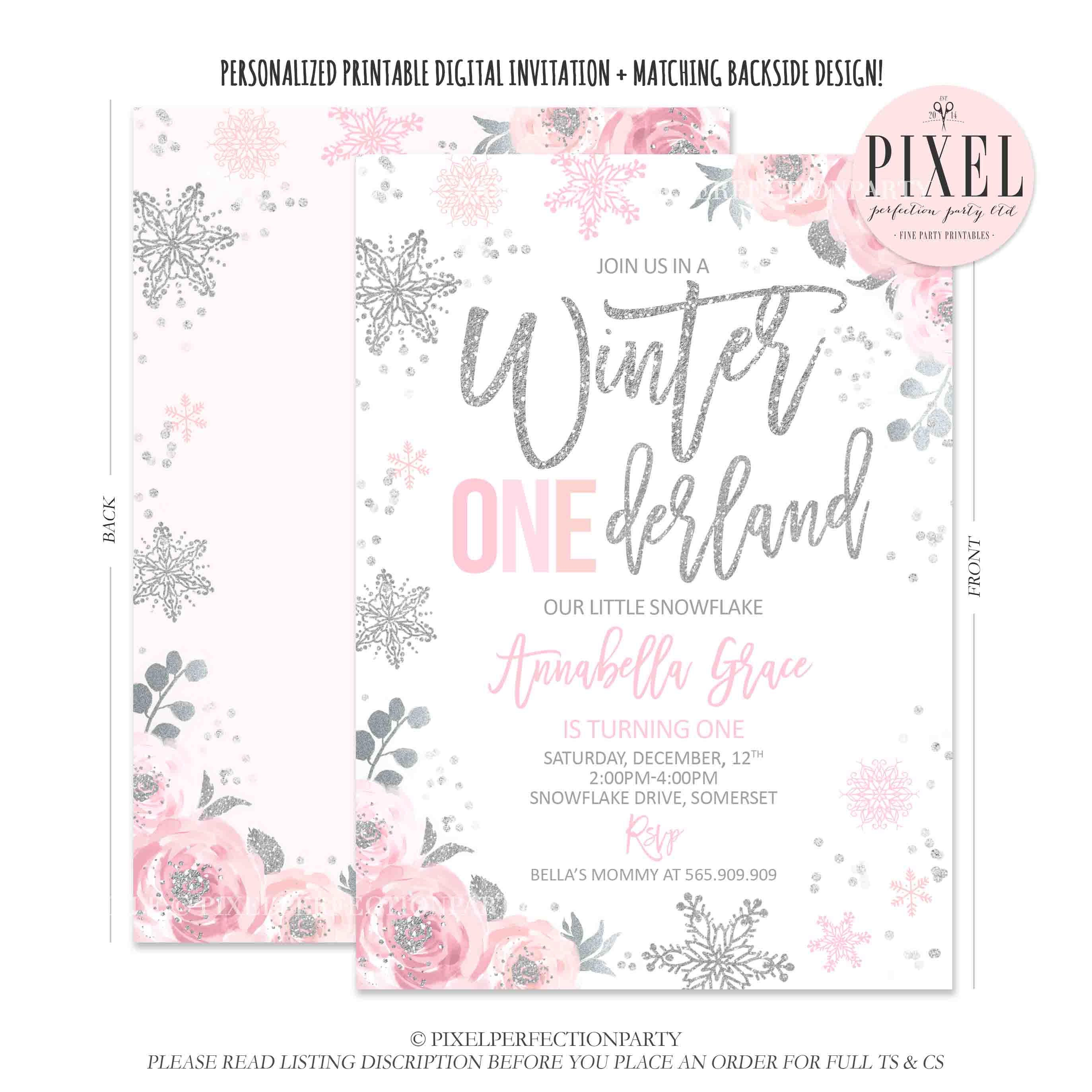 Winter Onederland Invitation Pink And Silver Etsy Salib Ring Holder Stand Smartphone Floral Snowflake Birthday Ws1