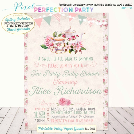 Tea party baby shower invitation vintage tea party baby shower etsy image 0 filmwisefo