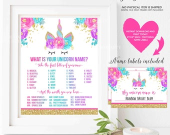 What Is Your Unicorn Name Game Unicorn Party Game Unicorn Party Magical Unicorn Birthday Unicorn Party Game Instant File Unicorn Game 5E