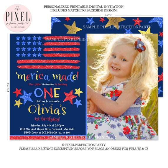 July 4th Birthday Invitation Fourth Of 1st Patriotic Independence Day Red White