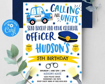 Editable Police Invitation Police Birthday Invitation Police Officer Invitation Cop Invite Policeman Party Police Party Instant Download PV