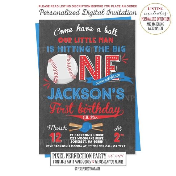Baseball Birthday Invitation First Boy 1st Vintage