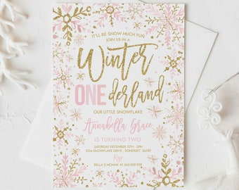 Editable WINTER ONEderland Invitation Pink And Gold Snowflakes Winter ONEderland Invitation Winter 1st Birthday Party Instant Download DE