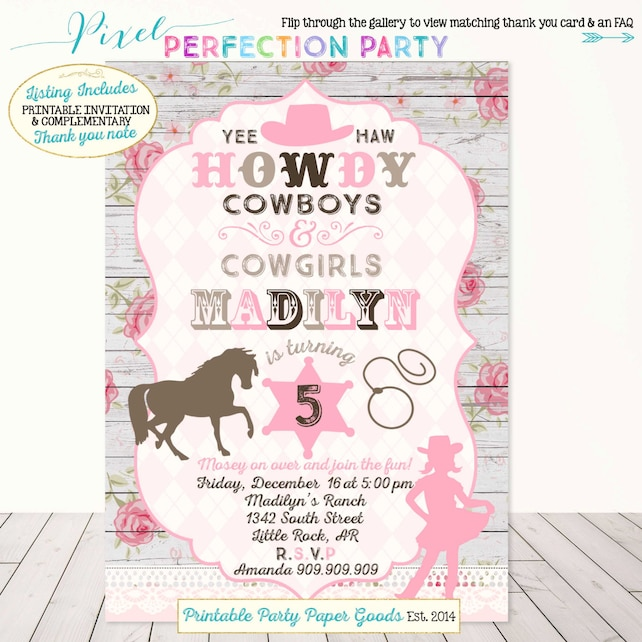 Cowgirl Invitation Birthday Vintage Party Shabby Chic Lace