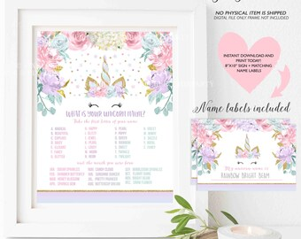 What Is Your Unicorn Name Game Unicorn Party Game Unicorn Party Magical Unicorn Birthday Unicorn Party Game Instant Download Unicorn Game