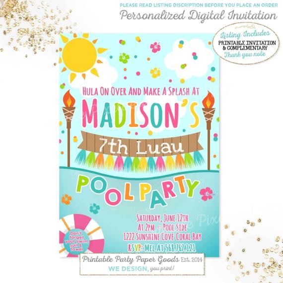 luau pool party invitation luau birthday invitation luau pool etsy