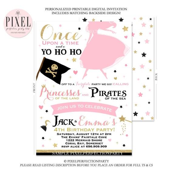 Princess and pirate birthday invitation princess pirate etsy image 0 filmwisefo
