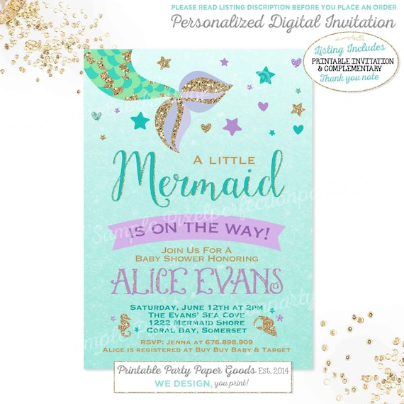 Mermaid baby shower invitation little mermaid baby shower etsy image 0 filmwisefo